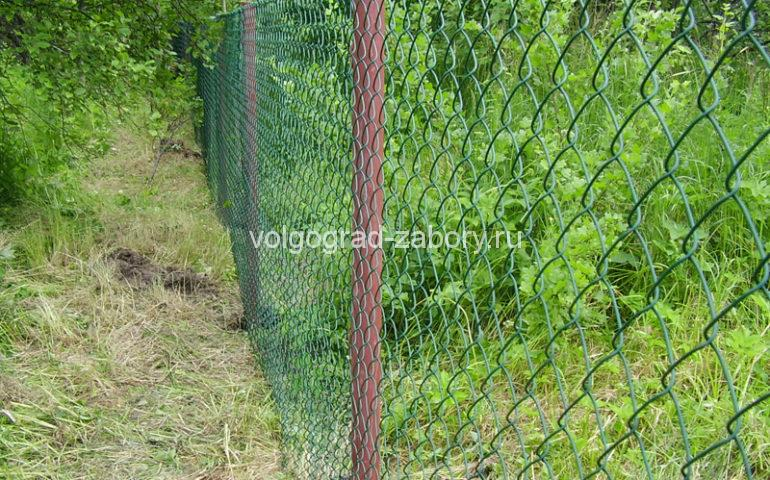 забор из сетки рабицы цена за работу